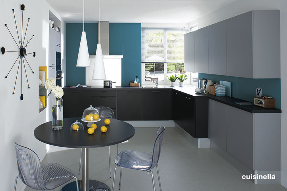 am nagement d co cuisine gris et bleu. Black Bedroom Furniture Sets. Home Design Ideas