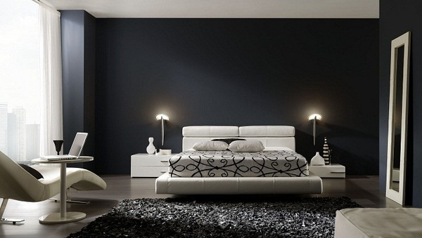 d coration chambre moderne noir blanc. Black Bedroom Furniture Sets. Home Design Ideas