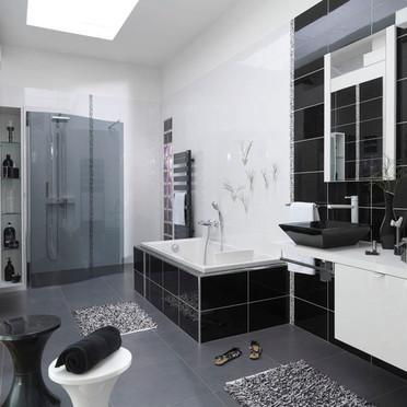 am nagement d coration salle de bain blanc et noir. Black Bedroom Furniture Sets. Home Design Ideas