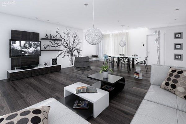 am nagement d coration salon noir et blanc design. Black Bedroom Furniture Sets. Home Design Ideas