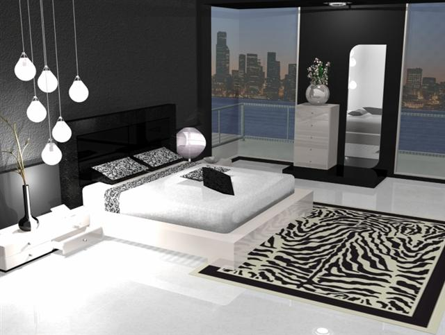 d coration chambre noir blanc gris. Black Bedroom Furniture Sets. Home Design Ideas
