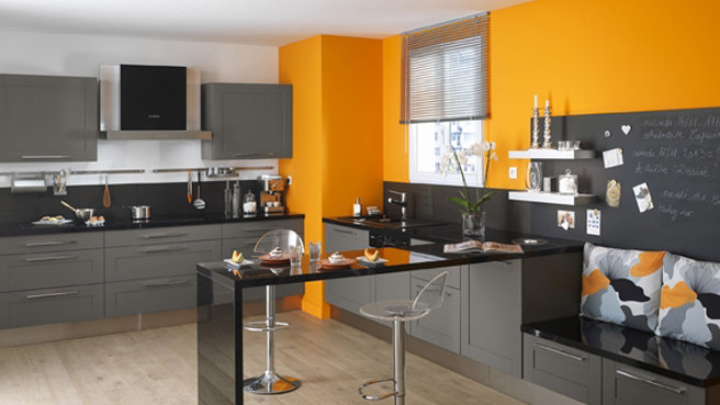 D co cuisine orange et grise for Decoration de cuisine grise
