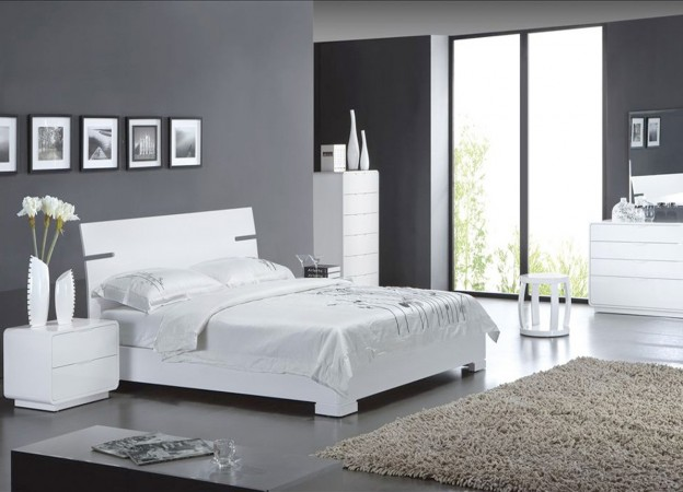 am nagement d coration chambre en gris et blanc. Black Bedroom Furniture Sets. Home Design Ideas