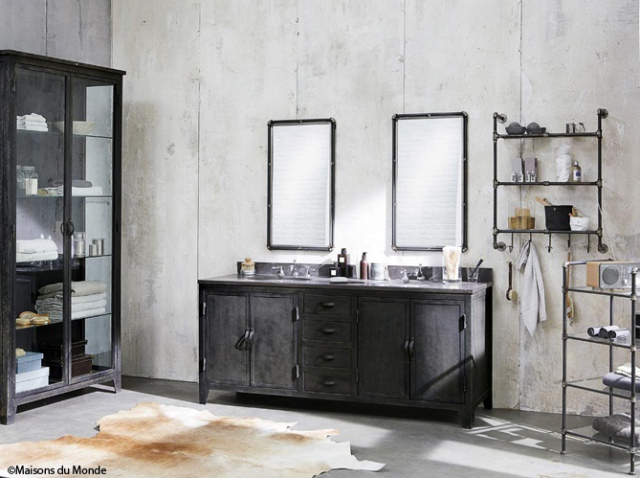 chantier salle de bain industrielle. Black Bedroom Furniture Sets. Home Design Ideas