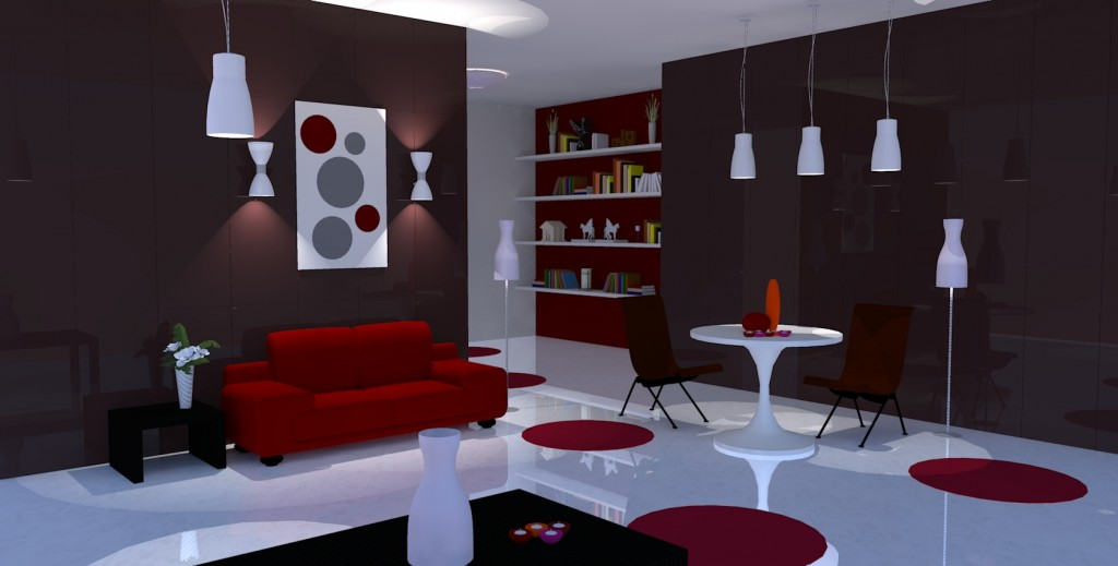 am nagement appartement rouge. Black Bedroom Furniture Sets. Home Design Ideas
