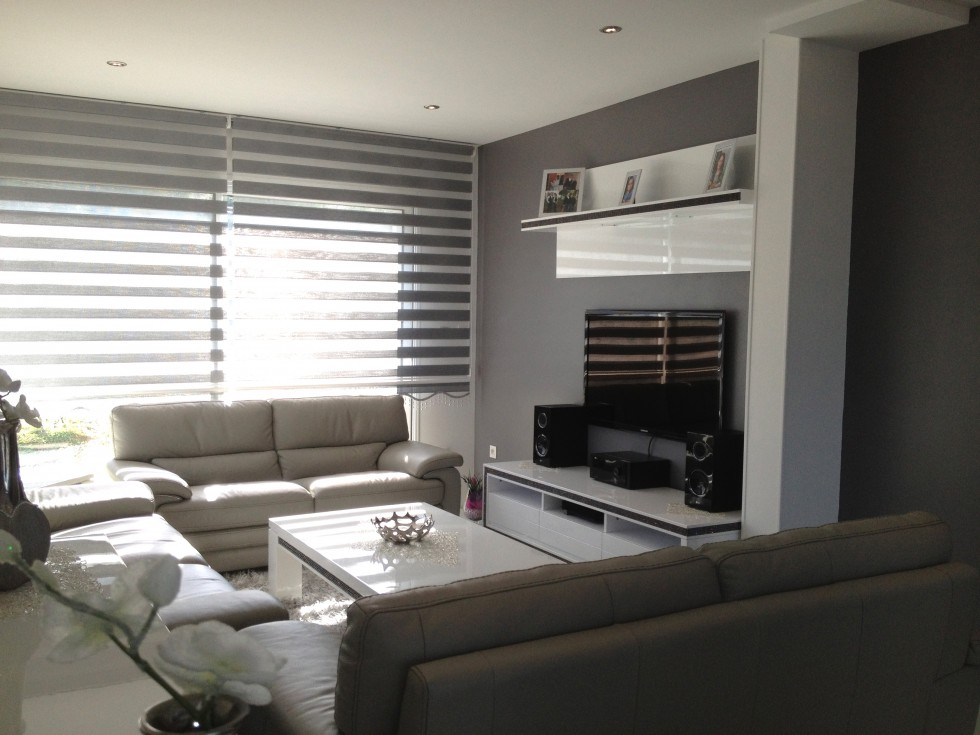 Exemple d coration salon gris et blanc for Deco sejour prune