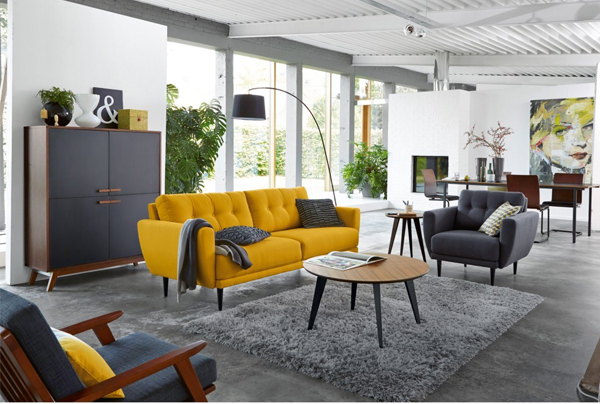 D co salon jaune moutarde for Accessoire deco salon