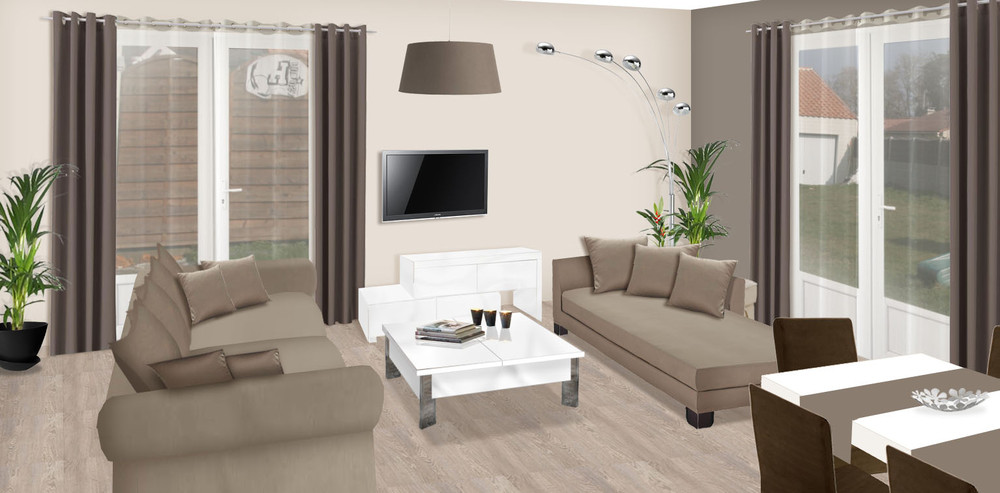 D co maison taupe for Decoration salon blanc beige taupe