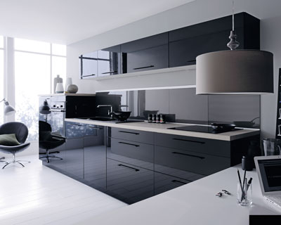 d co cuisine noir et gris. Black Bedroom Furniture Sets. Home Design Ideas