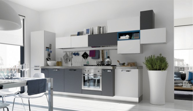 astuces d co cuisine gris et blanc. Black Bedroom Furniture Sets. Home Design Ideas