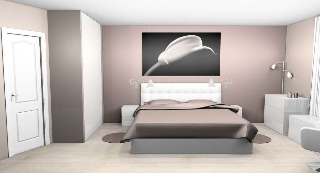 D co chambre taupe et blanc for Idee deco chambre contemporaine