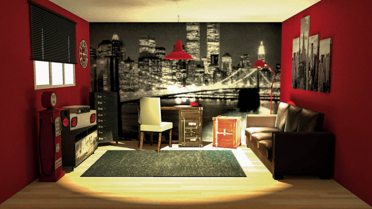 D co chambre new york ado for Stickers muraux chambre ado