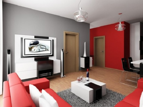 astuces d co salon rouge et gris. Black Bedroom Furniture Sets. Home Design Ideas