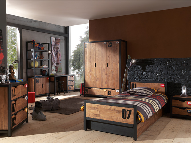 am nagement d co chambre ado industrielle. Black Bedroom Furniture Sets. Home Design Ideas