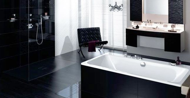 chantier d coration salle de bain noir et blanc. Black Bedroom Furniture Sets. Home Design Ideas