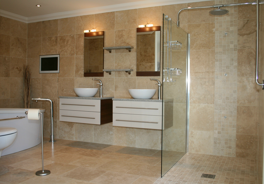 Am nagement d co salle de bain travertin for Deco fr salle de bain