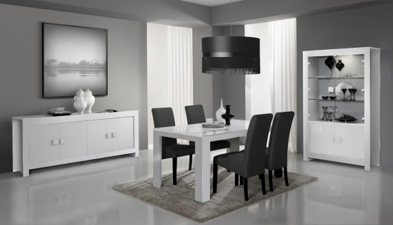 chantier d co salle manger gris et blanc. Black Bedroom Furniture Sets. Home Design Ideas
