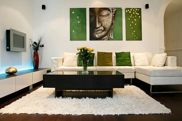 am nagement d coration salon zen vert. Black Bedroom Furniture Sets. Home Design Ideas