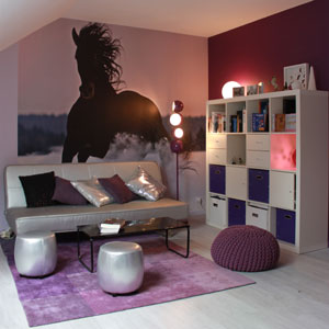 d coration chambre ado violet. Black Bedroom Furniture Sets. Home Design Ideas