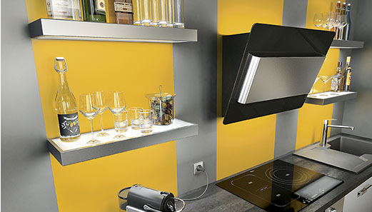 am nagement d coration cuisine gris et jaune. Black Bedroom Furniture Sets. Home Design Ideas